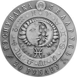 PISCES Horoscope Zodiac Swarovski Silber Münze Belarus 2009