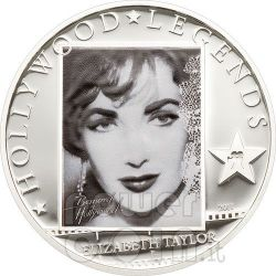 LIZ TAYLOR Hollywood Legends Moneta Argento 5$ Cook Islands 2011