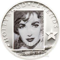 LIZ TAYLOR Hollywood Legends Silver Coin 5$ Cook Islands 2011
