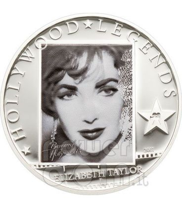 LIZ TAYLOR Hollywood Legends Silver Coin 5$ Cook Islands 2011
