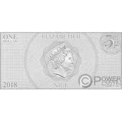BELLE Bella Bestia Principessa Disney Princess Banconota Argento 1$ Niue 2018