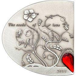 SEEDS OF LOVE Swarovski Silber Münze 5$ Cook Islands 2011