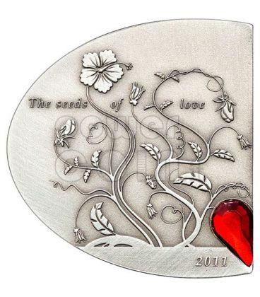 SEEDS OF LOVE Swarovski Silver Coin 5$ Cook Islands 2011