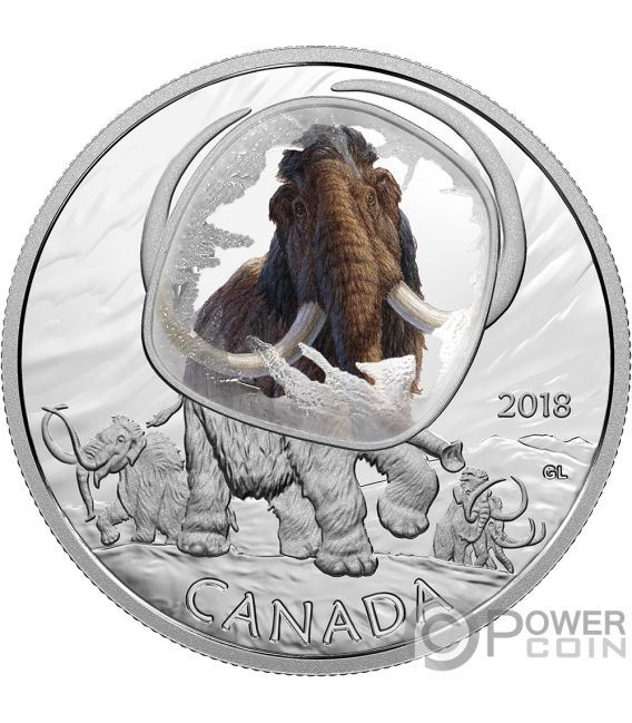 WOOLLY MAMMOTH Frozen In Ice 1 Oz Silver Coin 20$ Canada 2018