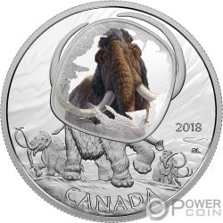 WOOLLY MAMMOTH Mammut Lanoso Frozen In Ice 1 Oz Moneta Argento 20$ Canada 2018