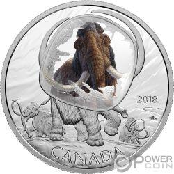 WOOLLY MAMMOTH Mamut Lanudo Frozen In Ice 1 Oz Moneda Plata 20$ Canada 2018