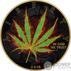 SATIVA Marijuana Liberty 1 Oz Moneda Plata 1$ USA 2018