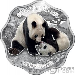 GIANT PANDA 20th Anniversary Blossom Shape 1 Kg Kilo Серебро Монета 10$ Фи́джи 2018