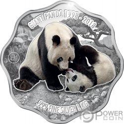 GIANT PANDA Riesenpanda 20 Jahrestag Blütenform 1 Kg Kilo Silber Münze 10$ Fiji 2018