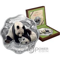 GIANT PANDA 20th Anniversary Blossom Shape 1 Kg Kilo Silver Coin 10$ Fiji 2018