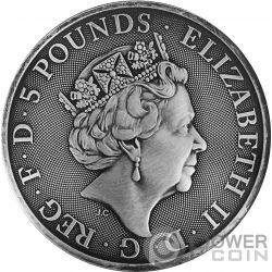 UNICORN QUEEN BEASTS Unicornio Reina Bestias Acabado Antiguo 2 Oz Moneda Plata 5£ United Kingdom 2018