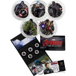 AVENGERS Age of Ultron Szene Kostüm Marvel Set 1 Oz Silber Münze 2$ Niue 2015