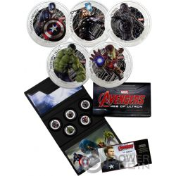 AVENGERS Age of Ultron Vestuario Escena Marvel Set 1 Oz Monedas Plata 2$ Niue 2015