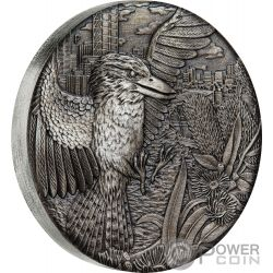 AUSTRALIAN KOOKABURRA Antique Finish 2 Oz Silver Coin 2$ Australia 2018