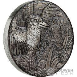 AUSTRALIAN KOOKABURRA Cucaburra Acabado Antiguo 2 Oz Moneda Plata 2$ Australia 2018
