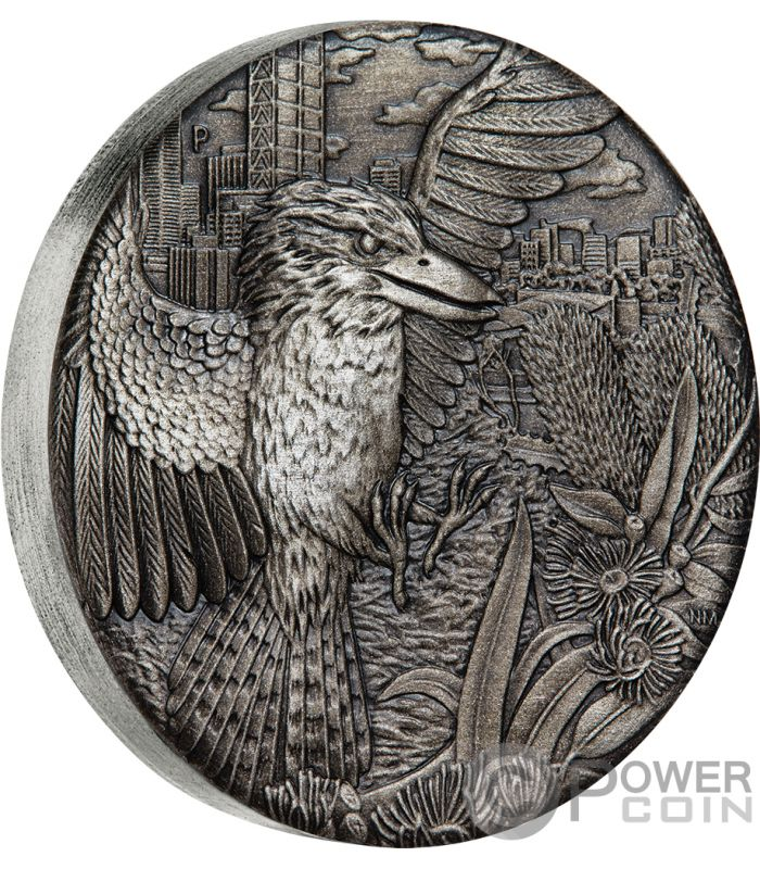 Australian Kookaburra Antique Finish 2 Oz Silver Coin 2