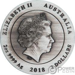 AUSTRALIAN KOOKABURRA Finitura Antica 2 Oz Moneta Argento 2$ Australia 2018