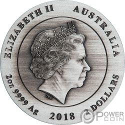 AUSTRALIAN KOOKABURRA Jägerlieste Antik Finish 2 Oz Silber Münze 2$ Australia 2018
