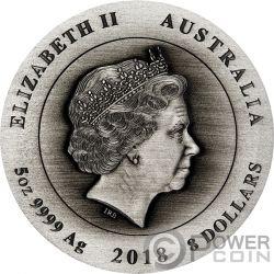 ANZAC SPIRIT Hall of Memory 100th Anniversary 5 Oz Серебро Монета 8$ Австралия 2018