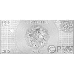 AQUAMAN Justice League Foil Серебро Note 1$ Ниуэ 2018