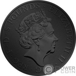 UNICORN QUEEN BEASTS Unicornio Reina Bestias Golden Ruthenium 2 Oz Moneda Plata 5£ United Kingdom 2018