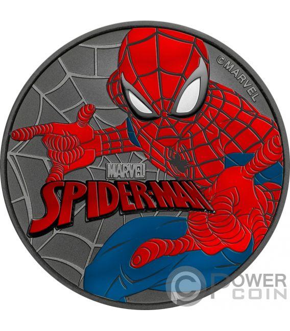 SPIDERMAN Uomo Ragno Marvel Rutenio Colorato 1 Oz Moneta Argento 1$ Tuvalu 2017