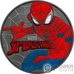SPIDERMAN Marvel Ruthenium Colorized 1 Oz Silver Coin 1$ Tuvalu 2017