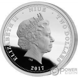 MEGALODON Shark 1 Oz Серебро Монета 2$ Ниуэ 2017