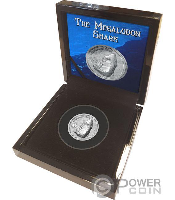 MEGALODON Megalodonte Squalo 1 Oz Moneta Argento 2$ Niue 2017