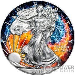FIRE AND WATER Agua Fuego Yin Yang Walking Liberty 1 Oz Moneda Plata 1$ US Mint 2017