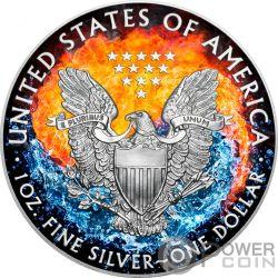 FIRE AND WATER Feuer Wasser Yin Yang Walking Liberty 1 Oz Silber Münze 1$ US Mint 2017