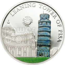 LEANING TOWER OF PISA World Of Wonders 5$ Silver Coin Palau 2011