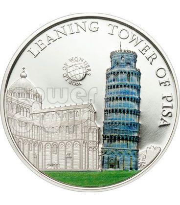 TORRE DI PISA World Of Wonders Moneta Argento 5$ Palau 2011
