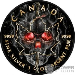 SMOKED SKULL Teschio Fumo Foglia Acero Maple Leaf 1 Oz Moneta Argento 5$ Canada 2018
