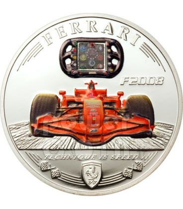 FERRARI F2008 Fibra Carbonio Moneta Argento 5$ Cook Islands 2009