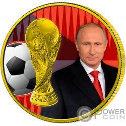FIFA WORLD CUP Weltmeisterschaft Präsident Putin 1 Oz Silber Münze 3 Rubles Russia 2018