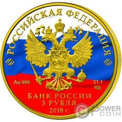 FIFA WORLD CUP Coppa del Mondo Presidente Putin 1 Oz Moneta Argento 3 Rubli Russia 2018