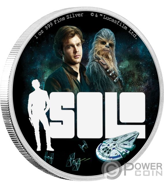 SOLO Han Star Wars Story 1 Oz Silver Coin 2$ Niue 2018
