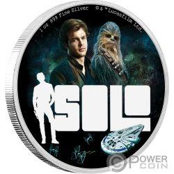SOLO Han Star Wars Story 1 Oz Moneda Plata 2$ Niue 2018
