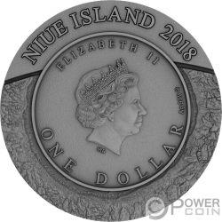 SPACE MINING Estrazione Stazione Spaziale 1 Oz Moneta Argento 1$ Niue 2018