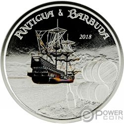 RUM RUNNER Coloreada 1 Oz Moneda Plata 2$ Antigua Barbuda 2018