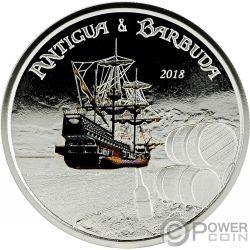 RUM RUNNER Farbig 1 Oz Silber Münze 2$ Antigua Barbuda 2018