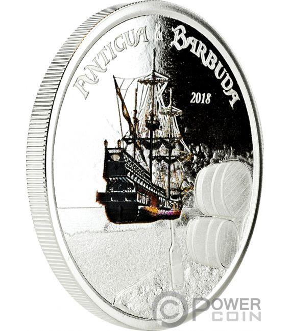 RUM RUNNER Coloured 1 Oz Silver Coin 2$ Antigua Barbuda 2018