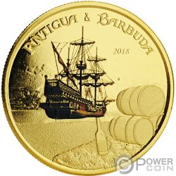 RUM RUNNER Coloreada 1 Oz Moneda Oro 10$ Antigua Barbuda 2018