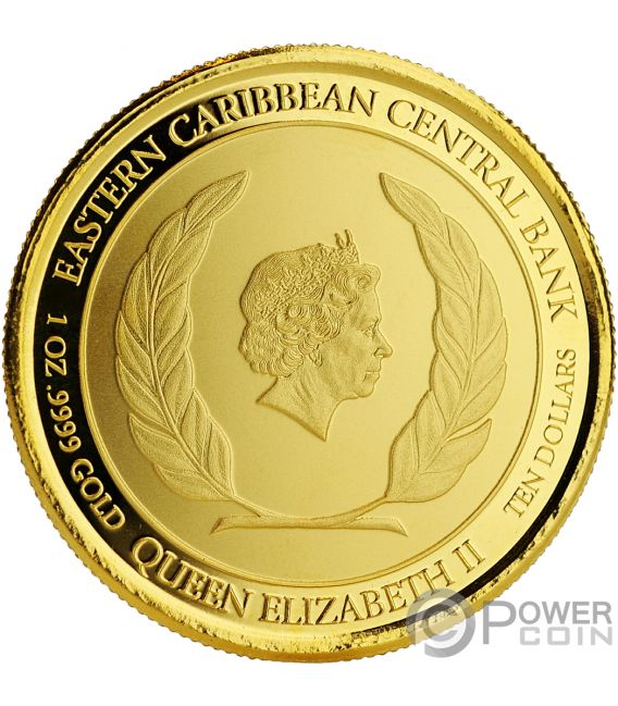 RUM RUNNER Coloured 1 Oz Золото Монета 10$ Антигуа Барбуда 2018