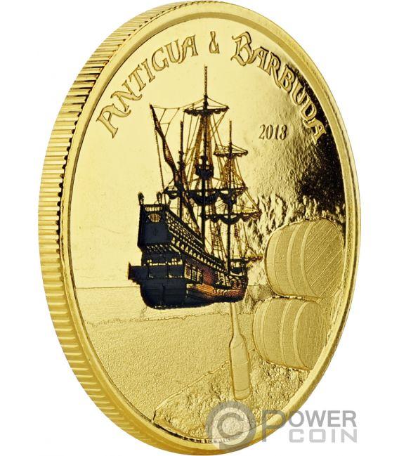 RUM RUNNER Colorata 1 Oz Moneta Oro 10$ Antigua Barbuda 2018