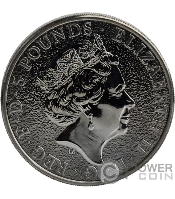 BURNING LION Queen Beasts 2 Oz Silver Coin 5£ United Kingdom 2016