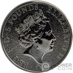 BURNING LION Leon Ardiente Queen Beasts 2 Oz Moneda Plata 5£ United Kingdom 2016