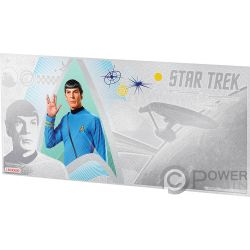 SPOCK Vulcanian Star Trek Original Series Foil Silver Note 1$ Niue 2018