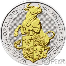 BLACK BULL Queen Beasts Gilded 2 Oz Silver Coin 5£ United Kingdom 2018
